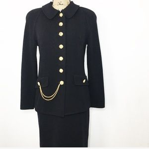 St. John Collection Black Gold Blazer Skirt Set
